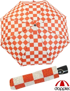 Doppler Damen Mini Regenschirm Auf-Zu Automatik Chess Paisley orange