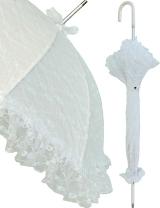 Hochzeits-Regenschirm Damen Stockschirm weiss
