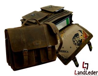 Büffelleder-Aktentasche-Ordnermappe mit Riemen-L- old school - LandLeder