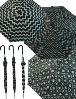 Zierlicher Damen Stockschirm mit Automatik gemustert schwarz-weiß