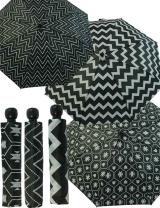 Damen Taschenschirm Regenschirm Automatik schwarz-weiß