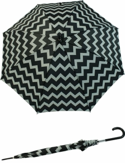 Zierlicher Damen Stockschirm mit Automatik gemustert schwarz-weiß gezackt breit