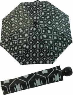 Damen Taschenschirm Regenschirm Automatik schwarz-weiß curse