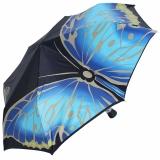 Doppler Manufaktur VIP Damen Taschenschirm Noblesse Auf-Zu Automatik Satin - Butterfly blau