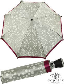 Doppler Manufaktur VIP Damen Taschenschirm Auf-Zu Automatik Satin - silver white points