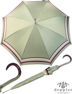 Doppler Damen Stockschirm Elegance Satin VIP Automatik - silver pink stripe