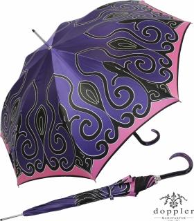 Doppler Damen Stockschirm Elegance Satin VIP Automatik - purple tendril