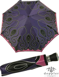 Doppler Manufaktur VIP Damen Taschenschirm Auf-Zu Automatik Satin - purple tendril