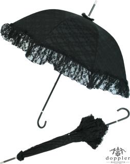 Hochzeits Schirm - Goldhauben - Regenschirm schwarz