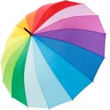 iX-brella long rainbow 16-color - Stockschirm 16-teilig mit Automatik Regenbogen