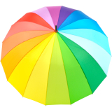 iX-brella golf rainbow 16-color - leichter XXL Golf-Partner-Regenschirm 16-teilig mit warmen weichen Softgriff