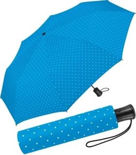 Mini-Taschenschirm Damen Flash Auf-Automatik - Dots hellblau