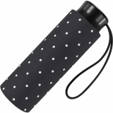 Ultra Mini Taschenschirm Damen Regenschirm Flash - Dots schwarz