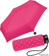 Ultra Mini Taschenschirm Damen Regenschirm Flash - Dots pink