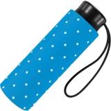 Ultra Mini Taschenschirm Damen Regenschirm Flash - Dots hellblau