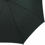 Flash Damen Stockschirm groß stabil mit Automatik - Dots schwarz