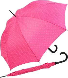 Flash Damen Stockschirm groß stabil mit Automatik - Dots pink