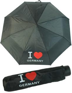 Deutschland Regenschirm Mini Taschenschirm schwarz - I Love Germany