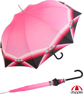 Doppler Damen Stockschirm Carbonsteel mit  Automatik Cross Over pink
