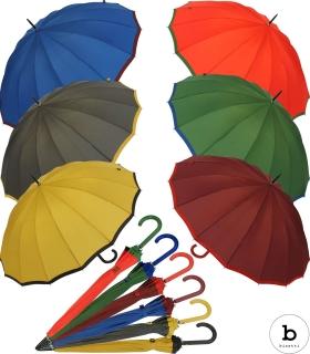 Bisetti Regenschirm Damen Stockschirm Automatik groß stabil sturmsicher 16-teilig Liso