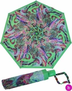 Bisetti Taschenschirm für Damen mit Auf-Zu Automatik - Marmol grün