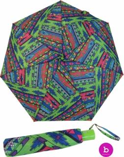 Bisetti Damen Taschenschirm Auf-Zu Automatik - Etnico Boho grün