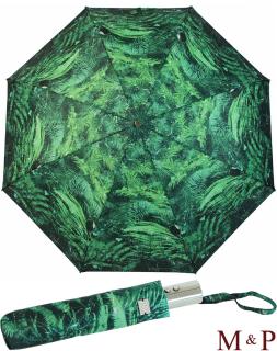 M&P Damen Taschenschirm Regenschirm stabil Auf-Zu-Automatik Fotografico - Farn