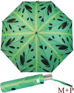 M&P Damen Taschenschirm Regenschirm stabil Auf-Zu-Automatik Fotografico - Philodendron