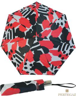 Edler Damen Vollautomatik-Taschenschirm von PERTEGAZ mit Chromgriff - Artwork red