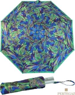 Edler Damen Vollautomatik-Taschenschirm Satin von PERTEGAZ mit Chromgriff - Strelitzie blau