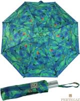Edler Damen Vollautomatik-Taschenschirm Satin von PERTEGAZ mit Chromgriff - Strelitzie grün