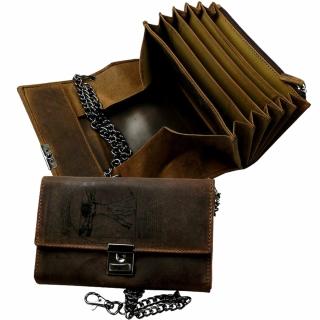 LandLeder Vintage-Anatomy Rindsleder Kellnerbörse Brieftasche mit Kette 7 tlg. braun