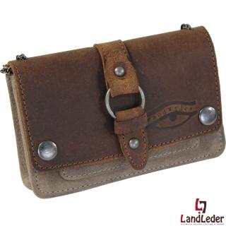 LandLeder Land´s & Leather Vollrindleder Kettenbörse Umhängetasche mit Kette grün-braun