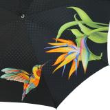 Doppler Damen Stockschirm Elegance Satin VIP - Boheme Tropicale grün
