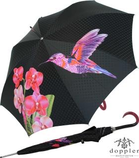 Doppler Damen Stockschirm Elegance Satin VIP - Boheme Tropicale rot