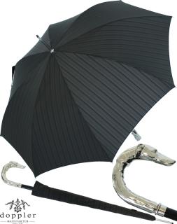 Doppler Manufaktur Herren Stockschirm Diplomat Orion schwarz gestreift - Griff Hund