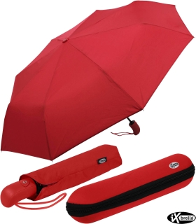 iX-brella first class Automatik - stabiler großer Damen- und Herren-Taschenschirm mit Etui rot
