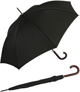 RS-Regenschirm Holzstock groß stabil für Damen und Herren mit Automatik schwarz