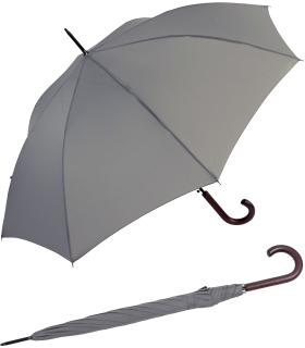 RS-Regenschirm Holzstock groß stabil für Damen und Herren mit Automatik grau