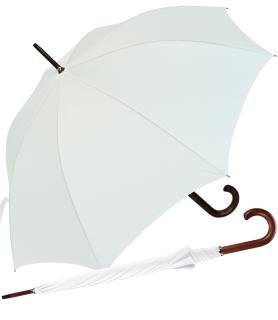 RS-Regenschirm Holzstock groß stabil für Damen und Herren mit Automatik weiß