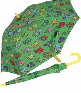Kinderschirm  Stockschirm Automatik - Kukuxumusu - Elefantitisch - grün
