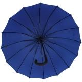 iX-brella long - hochwertiger Stockschirm 16-teilig mit Automatik sturmfest blau