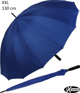 iX-brella leichter 16-teiliger Fiberglas Golf-Partnerschirm - XXL mit Softgriff einfarbig blau