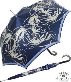 Doppler Manufaktur Damen Stockschirm Elegance Satin VIP Automatik - swirled blue