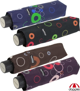 Doppler Mini Taschenschirm Havanna sturmfest leicht - Party Rings