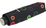 Doppler Mini Taschenschirm Havanna sturmfest leicht - Party Rings schwarz