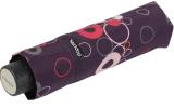 Doppler Mini Taschenschirm Havanna sturmfest leicht - Party Rings dunkellila