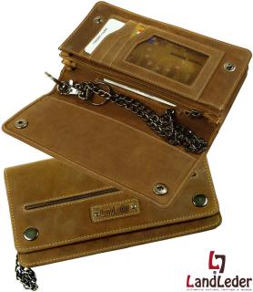 LandLeder Eco-Rindleder Security Bikerbörse Brieftasche mit Kette Herren 5 tlg., Querformat, naturbraun