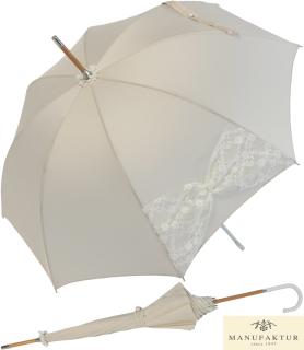Hochzeits-Regenschirm Wedding Wien - Mesh mit Perlenbesatz - champagner