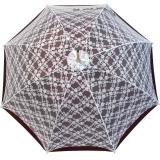 Doppler Manufaktur VIP Damen Regenschirm Verona - bordeaux mit weißer Spitze